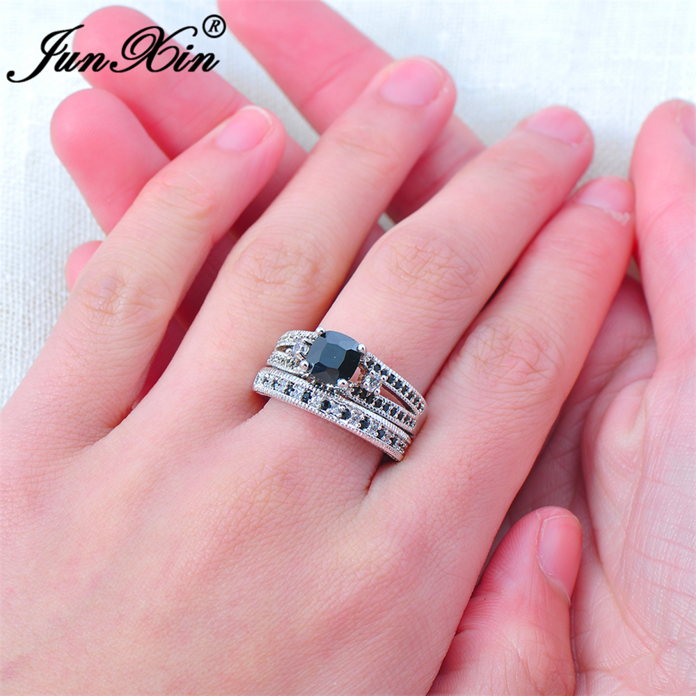 JUNXIN Luxury Female Black Ring Set High Quality Fashion White Gold ...