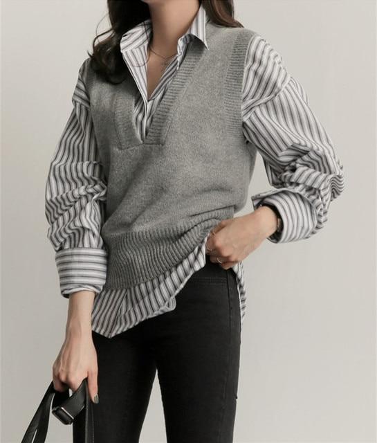 c08ef5b96a0 Elegant Short Knitted Waistcoat For Women Vest Loose V-neck Wool Female  Gilet Solid Sleeveless