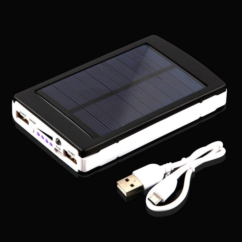imágenes para 2016 Más Nuevo 12000 mAh Banco de la Energía Solar Portátil Cargador Solar Dual USB para para el iphone 6 6 s plus para samsung smartphone pda mp3