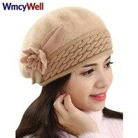 WmcyWellฤดูหนาวผู้หญิงหมวกดอกไม้ถักหมวกผสมใหม่สาวหมวกยืด