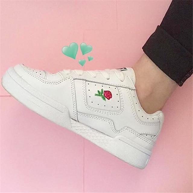 Embroidery Korean Rose Unif Harajuku Ulzzang Sneakers Flower White wx8FOIqCI