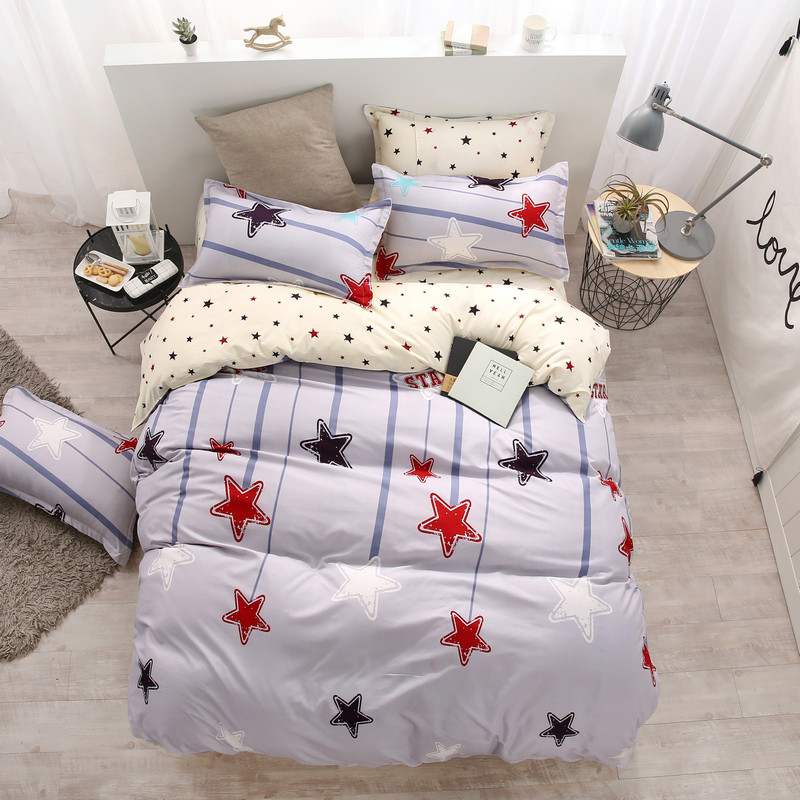 The New Fashionable White Stars Soft And Comfortable Breathable Four-Piece Quilt Cover + Bed Sheet+Pillowcase