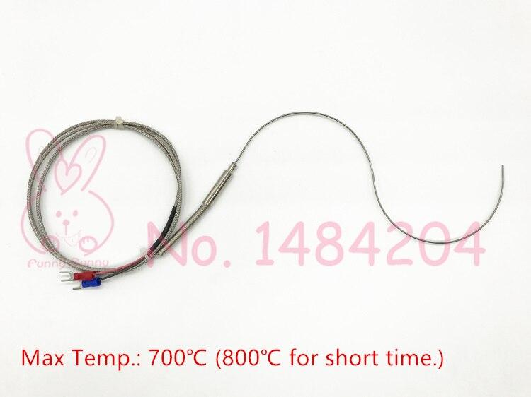 Screw 1x K Thermocouple Temperature Sensor Probe L=20cm D=5φ Wire=3m Insulated