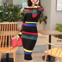 Dabuwawa Multicolor knitted stripe sweater dress Slim bodycon Sexy Off Shoulder 2018 Autumn Dress Long Sleeve Women Sheath Dress