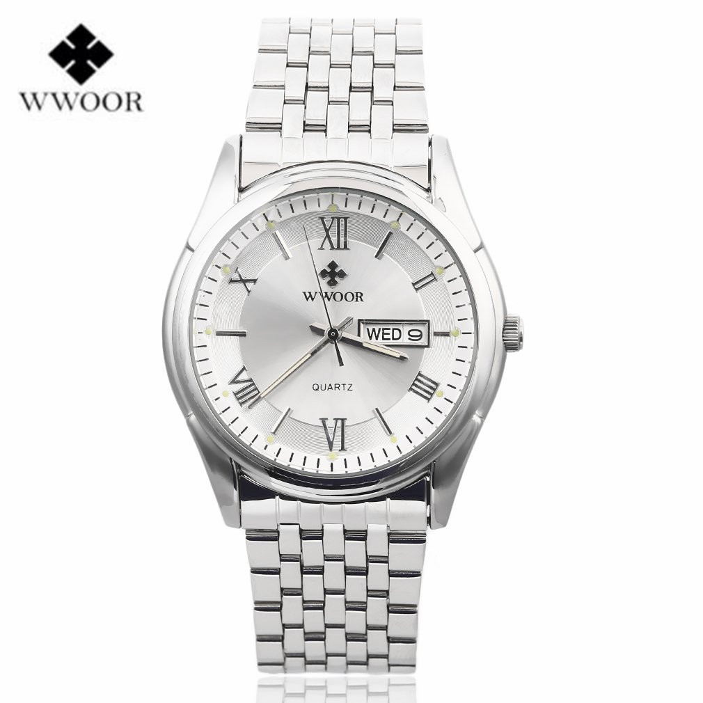 Wwoor men watches top brand luxury date day stainless steel luminous hand hours clock sport quartz