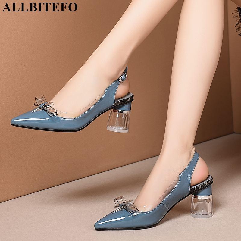 ALLBITEFO tacón de cristal de cuero genuino thik talón zapatos de mujer bowtie party sandalias de Mujer Zapatos de tacón alto sandalias de playa-in Sandalias de mujer from zapatos    1