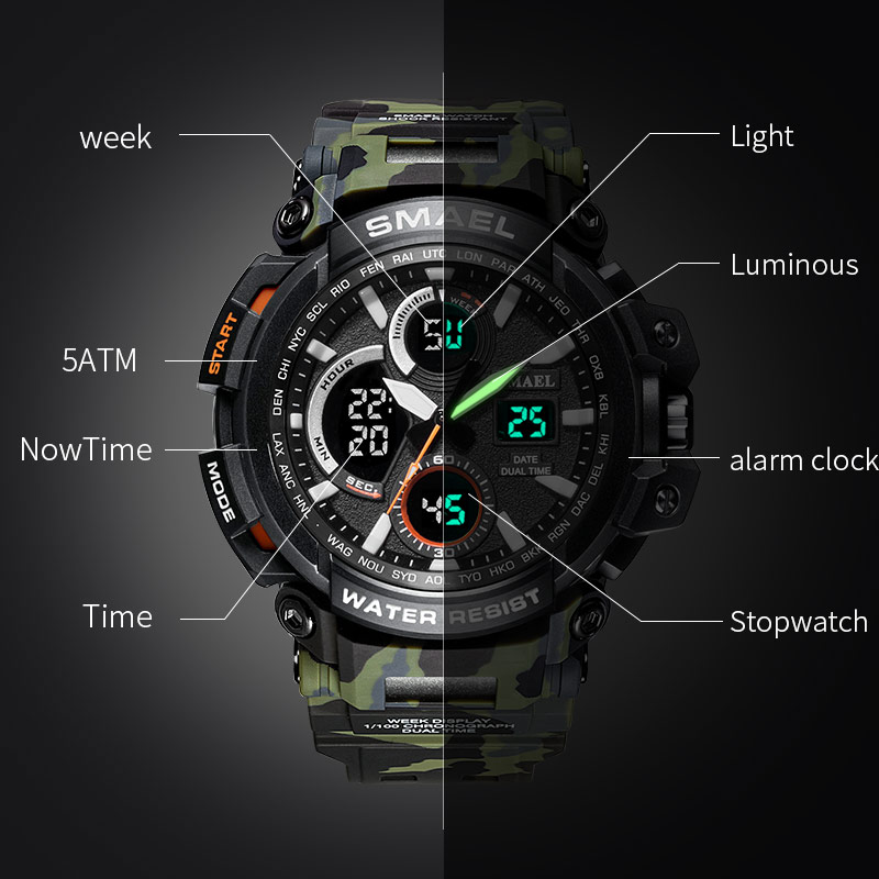 SMAEL Sport Watches 2018 Men Watch Waterproof LED Digital Watch Male - მამაკაცის საათები - ფოტო 3