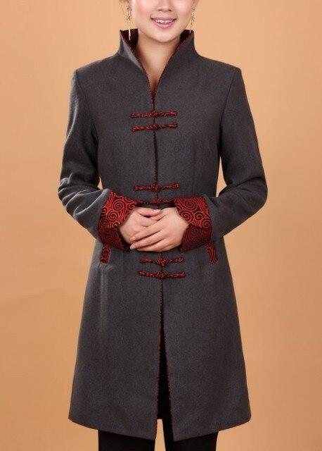 Осень зима серый женщины кашемир шерстяное пальто китайском стиле куртка длинный тонкий слой пиджаки размер L XL XXL XXXL WJ017