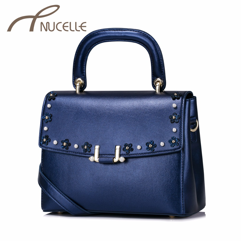 NUCELLE Women PU Leather Handbag Ladies Fashion Flower Rivet Messenger Tote Purse Female Leisure Flap Crossbody Bag NZ41015  fashion design bee metal pearl pu leather chain ladies shoulder bag handbag flap purse female crossbody messenger bag 5 colors
