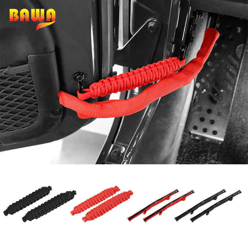 BAWA PVC Car Door Restriction Protection Rope Strap for Jeep Wrangler JK JL 2007-2018 Car Limit rope