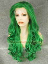 N5-T6138#  Long Wavy New Style Top Quality green Synthetic Lace Front Green Wigs cosplay wig