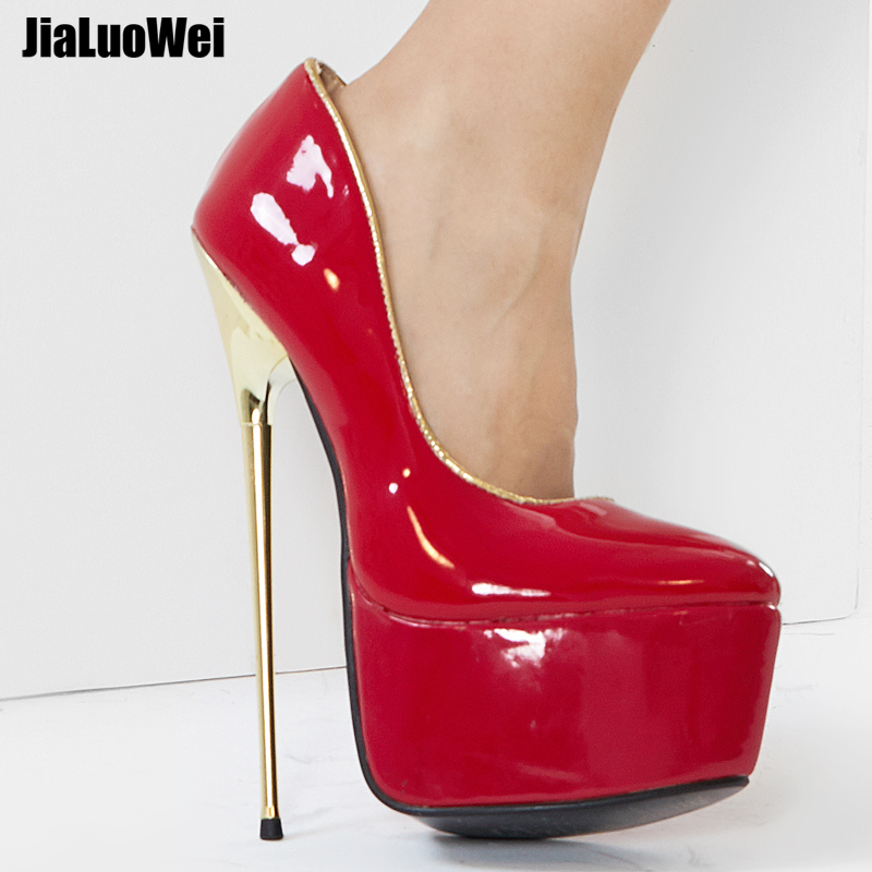 Jialuowei 22 CENTÍMETROS High Heel Bombas das Mulheres Da Moda + 6 cm Plataforma PU Couro Metal Ouro Raso Calcanhar Antiderrapante -sobre a Dança Boate Sapatos