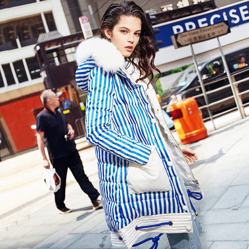 Winter   Down   Jacket Women Natural Fox Fur Collar 90% White Duck   Down     Coat   2019 New Arrival Hit Color Striped Women's   Down   Jacket