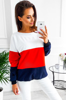 2018 new woman Winter casual contrast color patchwork sweatshirt