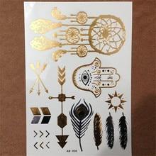 1 Sheet Gold Silver Blue Temporary Metallic Tattoo Jewel Inspired Fashion Dreamcatcher Evil Eye Feather Sun