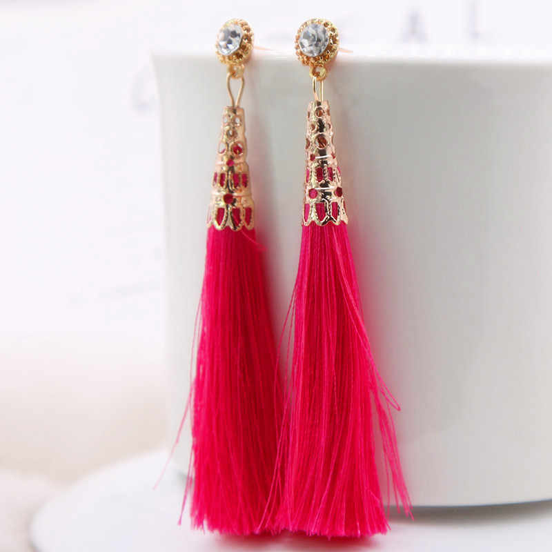 EK744 2018 New Long Tassel Drop Earrings Black Vintage Earrings Big Rhinestone Crystal Dangle Earrings Female Bohemian Brincos