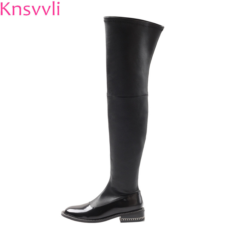 Martin boots women flat thigh high boots round toe genuine leather black botas mujer studded chain stretch over the knee boots women shoes scarpe donna elastic boots botines mujer sapato feminino round toe chaussure femme schoenen vrouw over knee boots