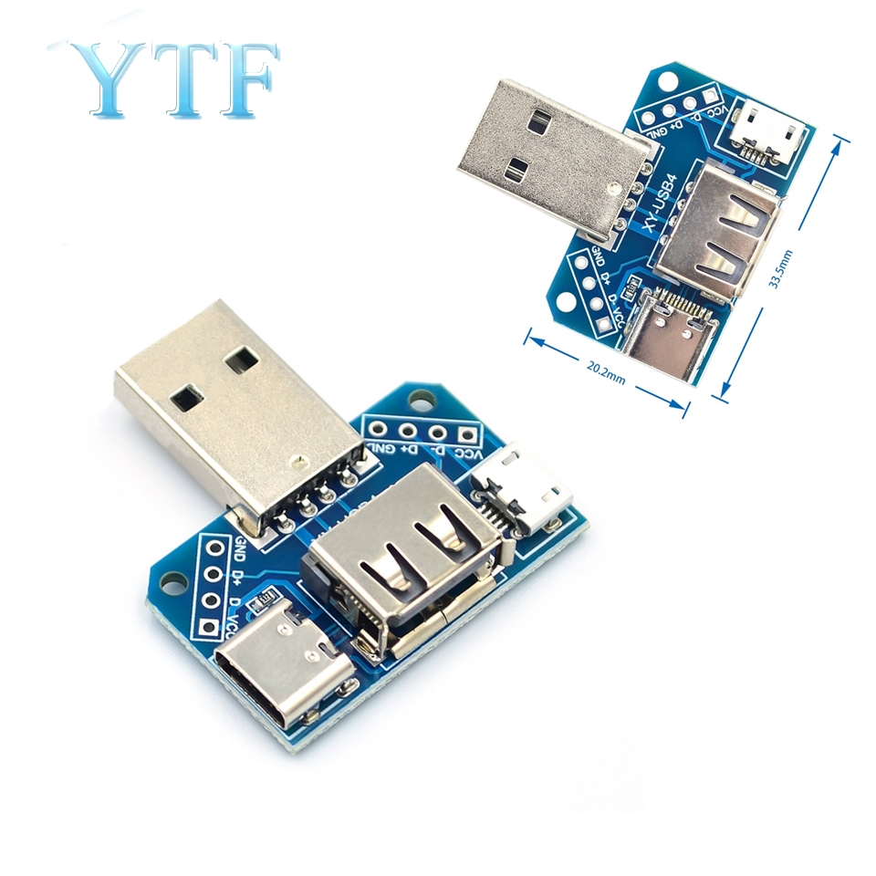 USB Adapter Board Male To Female Micro Type-C 4P 2.54MM Inline USB4