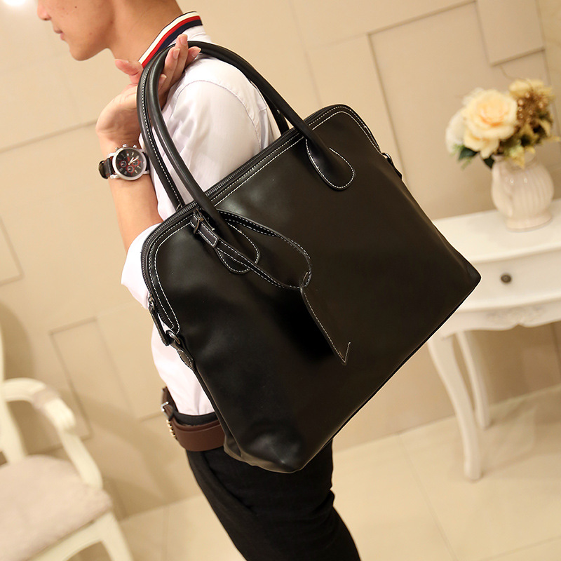 Leather Bag Men 39 s Briefcase fashioned Largefamous designer handbags 14 Inches Laptop Pack Men Designer Simple Shoulder Bags