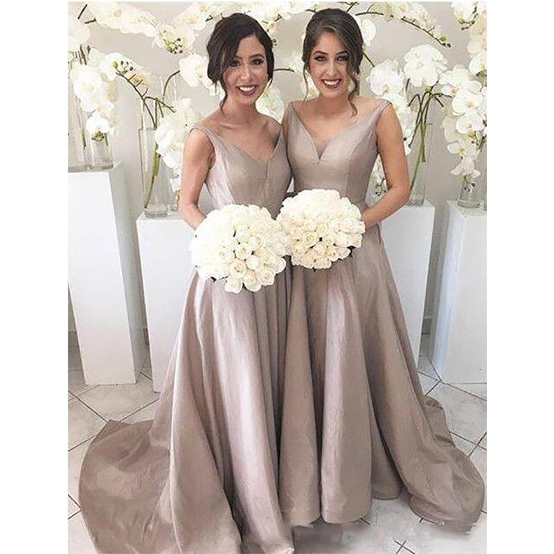2019 Simple Elegant   Bridesmaid     Dresses   A Line Sleeveless V Neck Floor Length Sweep Train Garden Wedding Guest Party Gowns