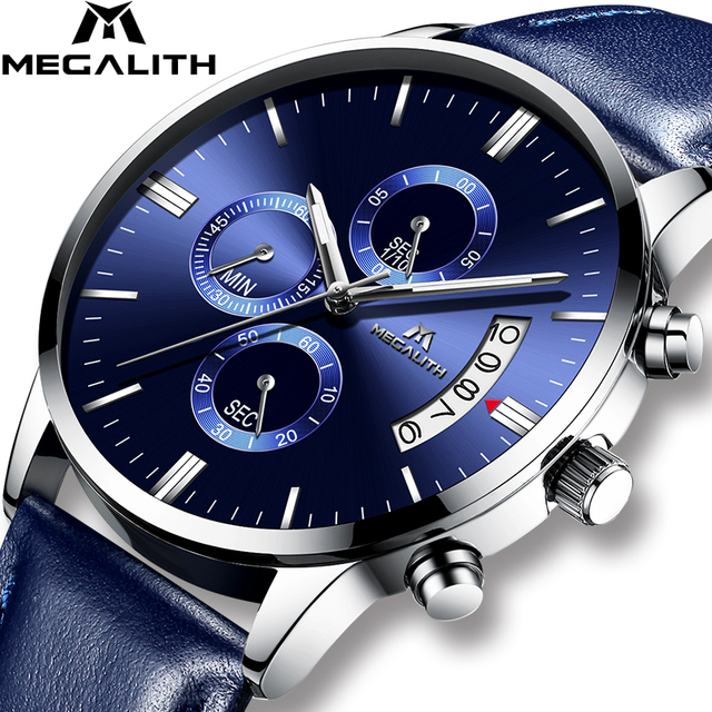 bcdd609c9ed MEGALITH Relógios Homens Luxo Chronograph Data Calendário Relógio de Pulso  À Prova D  Água Negócio