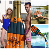 185cm Giant Inflatable Champagne Bottle Pool Float Swimming Pool Toys Water Sports Raft Water Floating Lake Island Swimming Buoy
