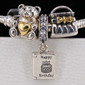 3 Pcs Authentic 925 Sterling Silver Happy Birthday Wish Bear Gift Bag Charm Beads Fits Pandora Bracelets Jewelry