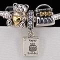 3 unids auténtica plata de ley 925 feliz deseo de cumpleaños bolsa de regalo oso granos del encanto adapta pulseras pandora joyería