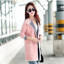 Brieuces Spring and autumn new womens cardigan long jersey sweater mixed colors fashion coat