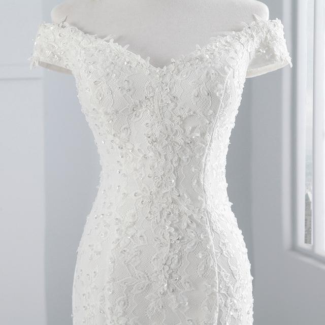 new style boat neck beautiful lace wedding dress for wedding Mermaid wedding dress