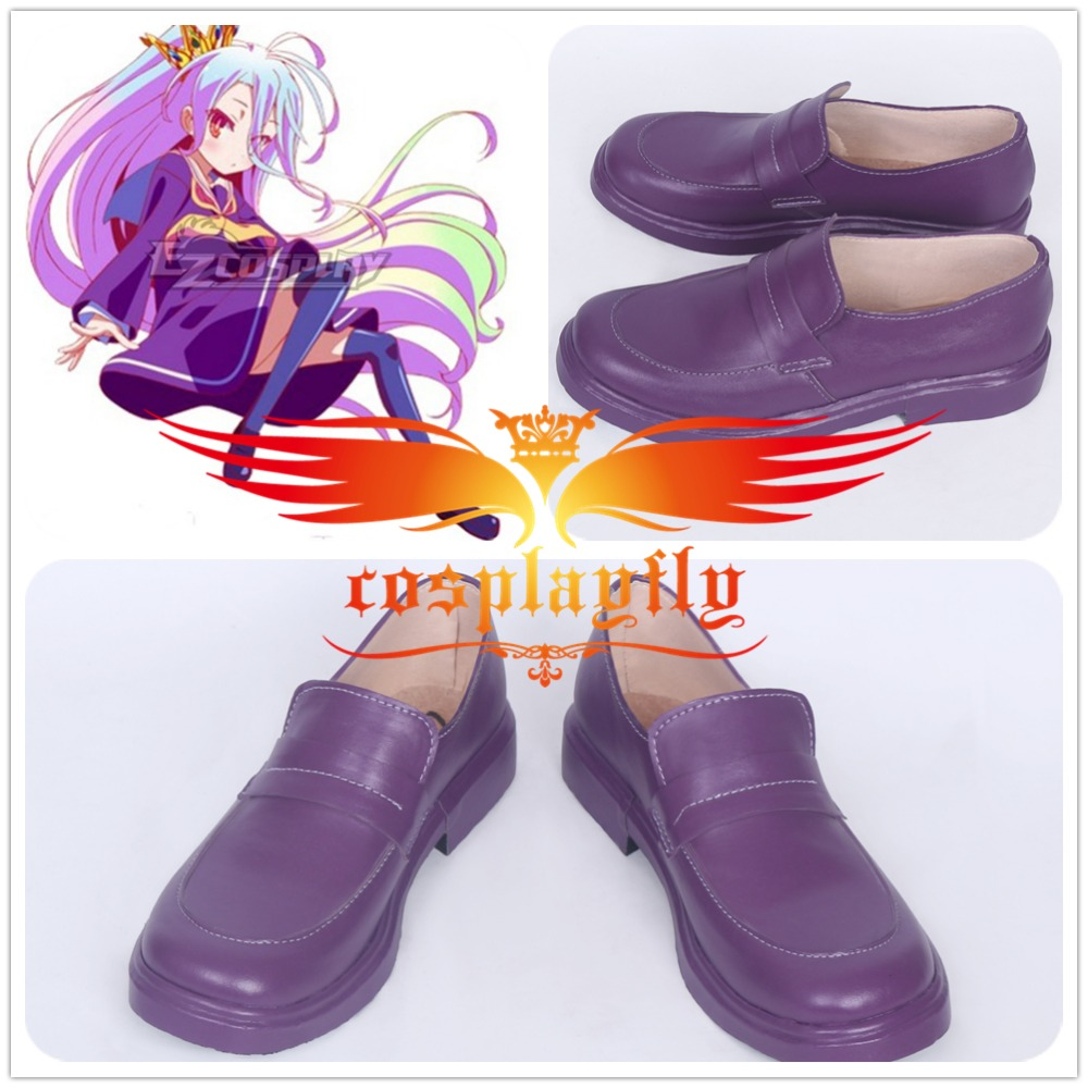 Anime No Game No Life Shiro Purple Shoes Cosplay Adult Boots Custom Size (Gender, height, foot length, foot around)