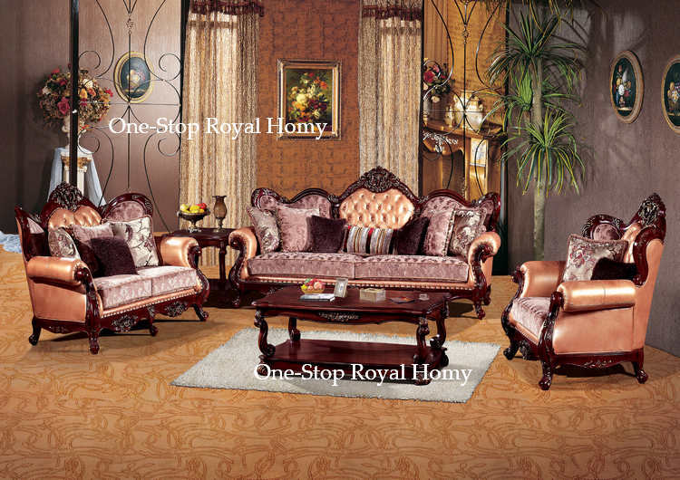 Antique Home Living Room Furniture Set Leather Sofa Set Hand Carved Solid  Wood Frame Furnishing In Living Room Sofas From Furniture On Aliexpress.com  ...