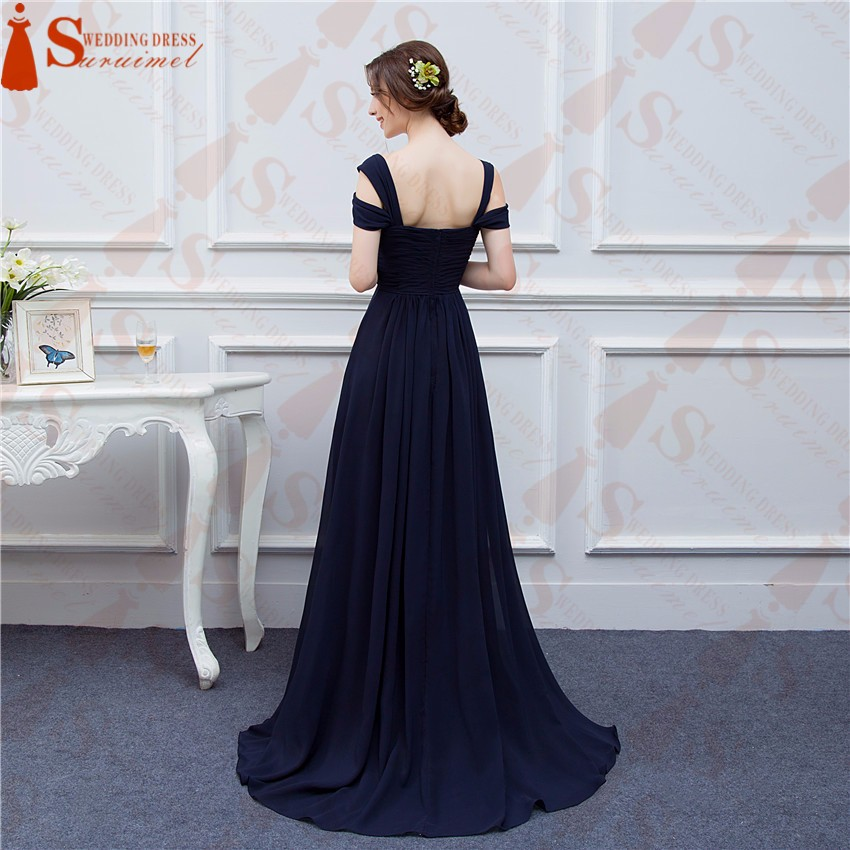 Bridesmaid Dresses 2017 Custom Made Navy Blue Color Chiffon Maid of Honor Dress Sexy High Slit Cheap Long Wedding Party Gowns 6