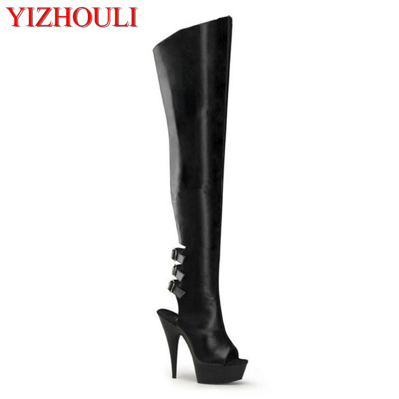 Ultra-high 15 cm high heels and sexy women sexy long boots knee-high boots fashion soft PU leather thigh-high boots 20cm pole dancing sexy ultra high knee high boots with pure color sexy dancer high heeled lap dancing shoes