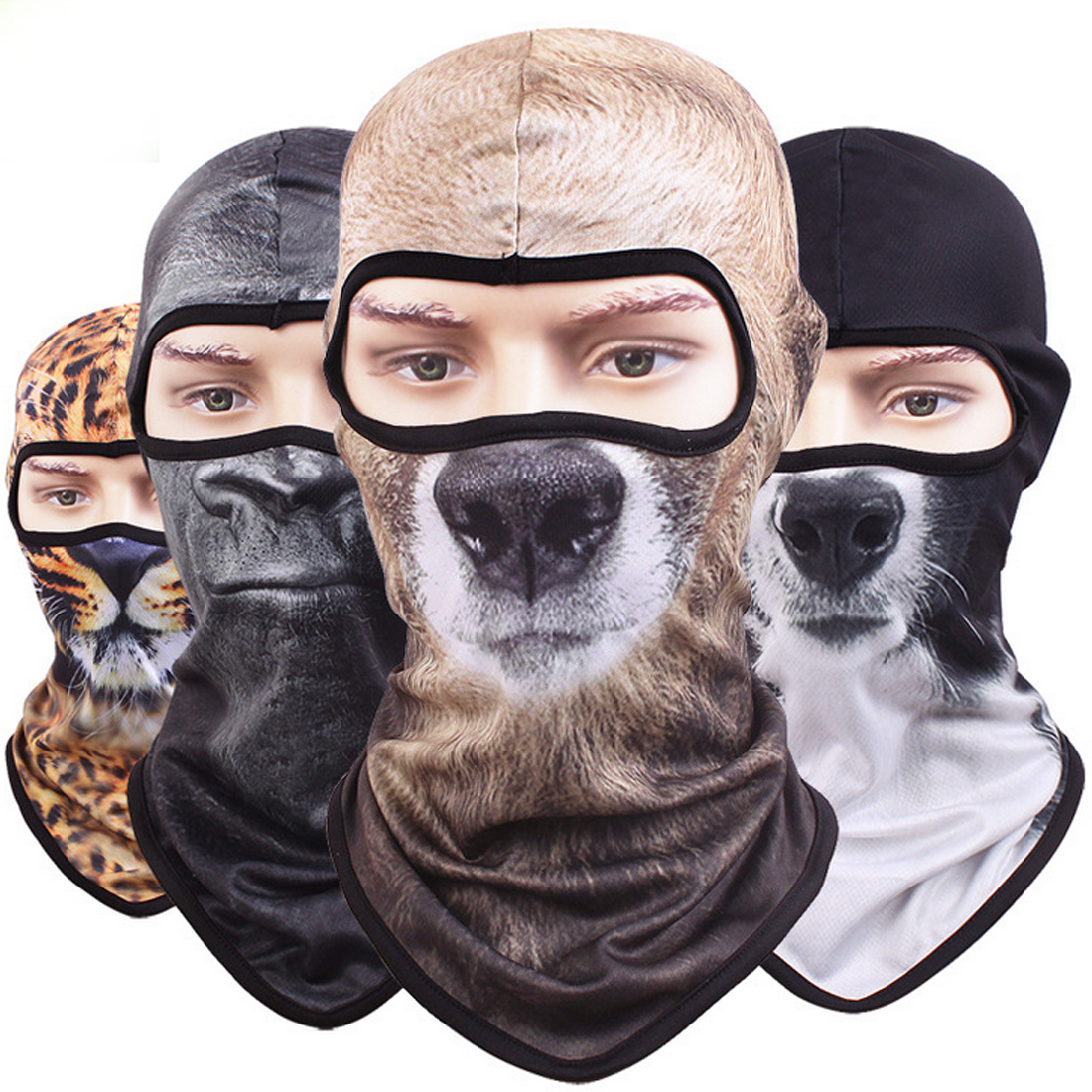 Quick Dry Breathable 3D Animal Balaclava Hat Bicycle Tactical Helmet  Skull Hood Cap Snowboard Full Face Mask For Men Women