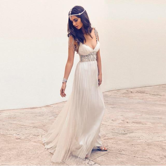 72490637012 2016 Luxury Crystal A Line Summer Beach Chiffon Wedding Dress Sexy  Spaghetti Plunging Neck Beading Romantic Bridal Gowns Custom