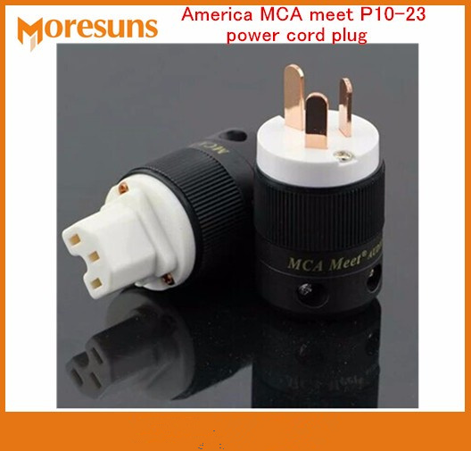 Fast Free Ship 2set/lot America For MCA Meet P10-23 Pure Red Copper National Standard CD Power Amplifier Filter Power Cord Plug