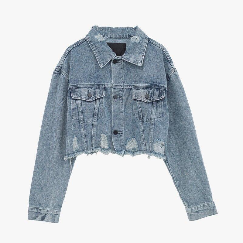 2019 Autumn Women Basic Coat Denim Jacket Long Sleeve casual loose Female spring Ripped Hole Outwear