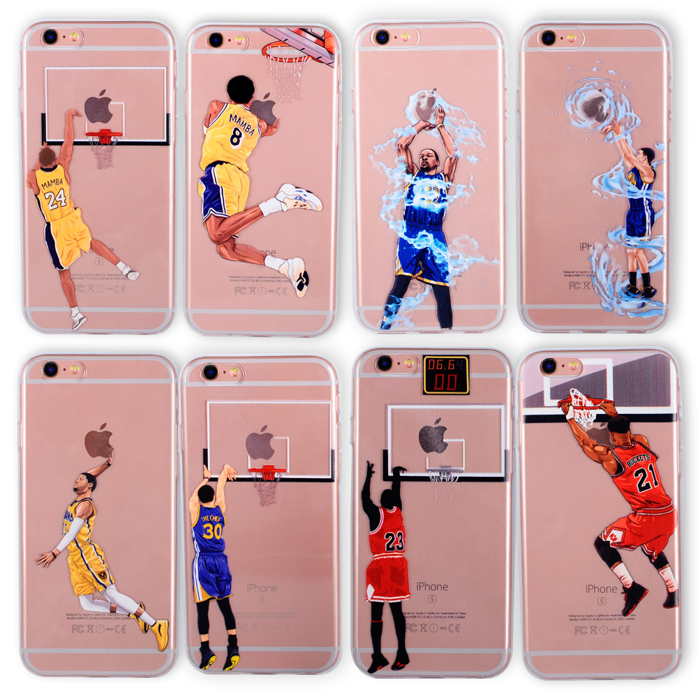 For NBA Basketball Phone Case for iphone 6 Cases Silicone back cover for iphone 7 plus 5 5s se 6s curry jordan Kobe Bryant Wade