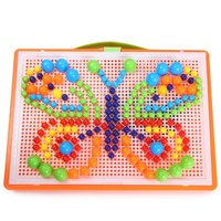 Creative Puzzle Educational Toy Mosaic Pegboard Mushroom Nails Jigsaw 296pcs Pegboard Storage Basket Set Learn Toy