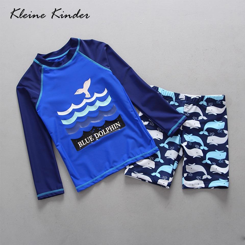 UPF50+ Summer Swimwear Kids Boy Child 2pieces Separate Bathing Suit Cartoon Long Sleeved Blue Children's Swimwear Swimming Suit