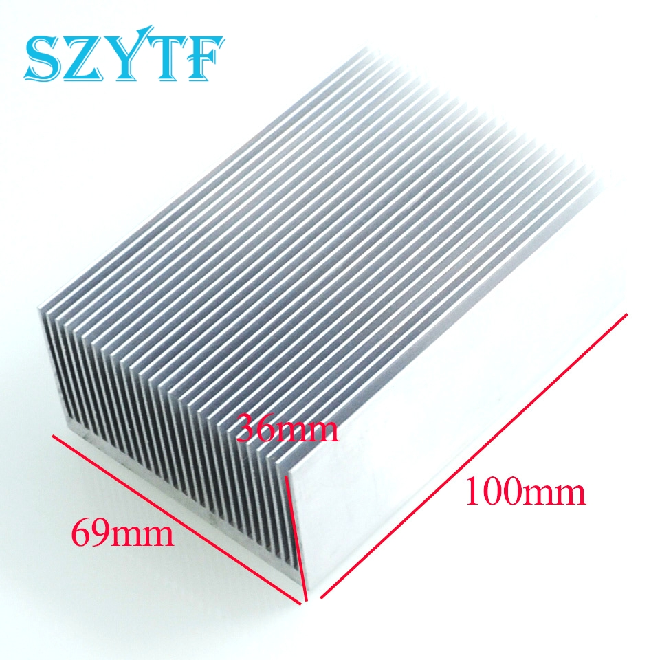 1pcs High- power electronic radiator heat sink fins fine-toothed 100 * 69 * 36MM szytf 2pcs heat sink 100 69 36mm silver high quality ultra thick aluminum radiator