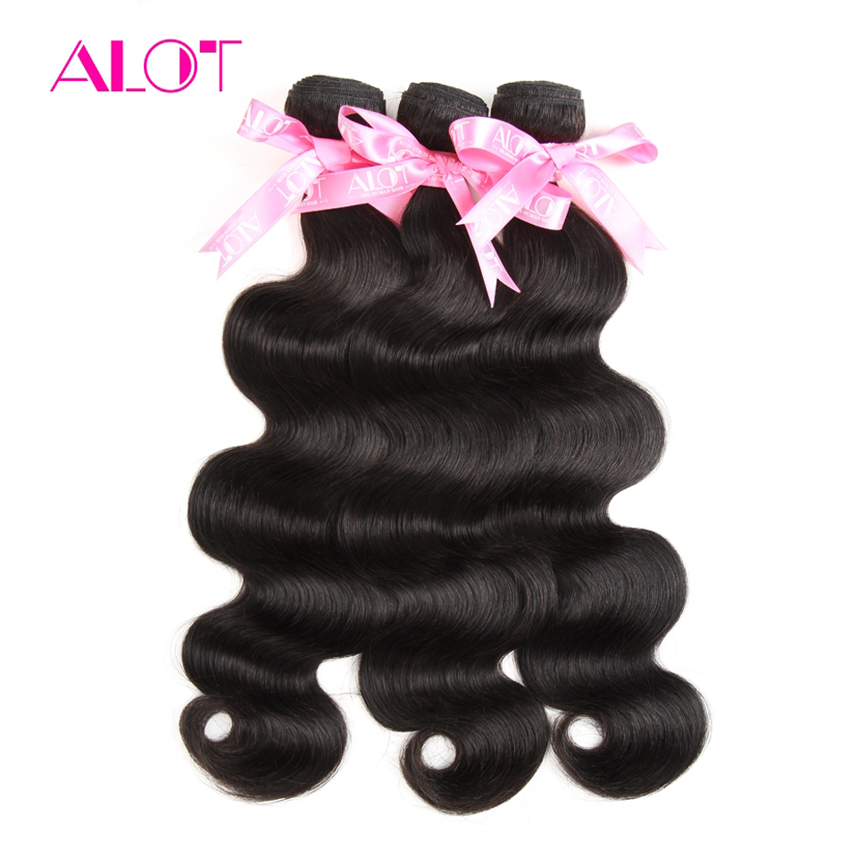 ALOT Hair 100% Human Hair Bundles 1 Piece Brazilian Body Wave Hair Extensions 8-28 Inch Non Remy Hair Weave Natural Color