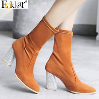 Eokkar 2020 Women Ankle Boots Pointed Toe Hoof Heels Winter Boots Elasticity Boots Women Shoes Ladies Casual Boots Size 34 43