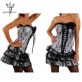 White Sexy Gothic Steampunk Corsets Dress Waist Trainer modeling strap Corset And Bustiers Espartilho Waist Cincher Corset Skirt