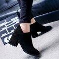Outono Inverno Grossas Botas Abkle Couro Calcanhar Grosso Fêmea Zíper Lateral Sapatos ShoesWomen Zapato Tornozelo Moda Botas Mulheres Do Vintage