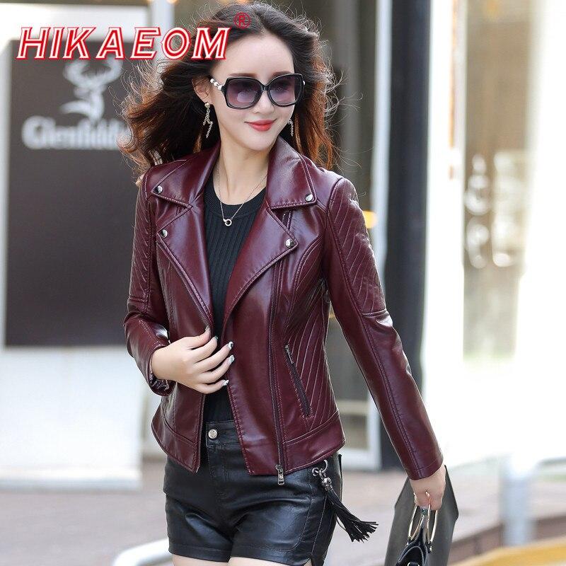 fashion women lady winter faux leather Biker Basic Jackets Women Short Washed PU Leather Jacket Zipper