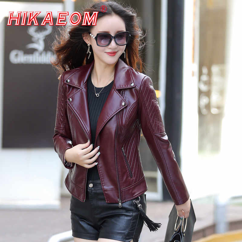fashion women lady winter faux leather Biker Basic Jackets Women Short Washed PU Leather Jacket Zipper Pockets jaqueta de couro