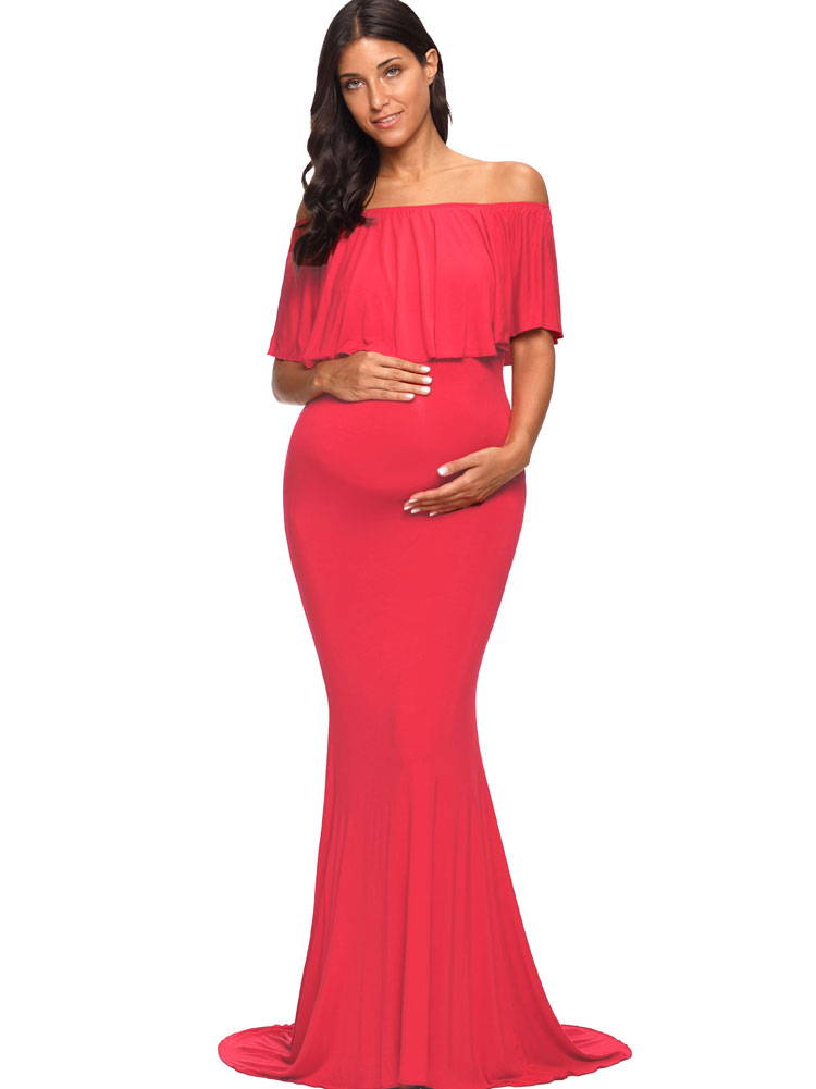 Off Shoulder Ruffles Womens Maxi Maternity Dresses Women Dress Plus Size Evening Long Dress for Mama Photography shoot Gown XL alluring plus size bowknot embellished cold shoulder dress for women