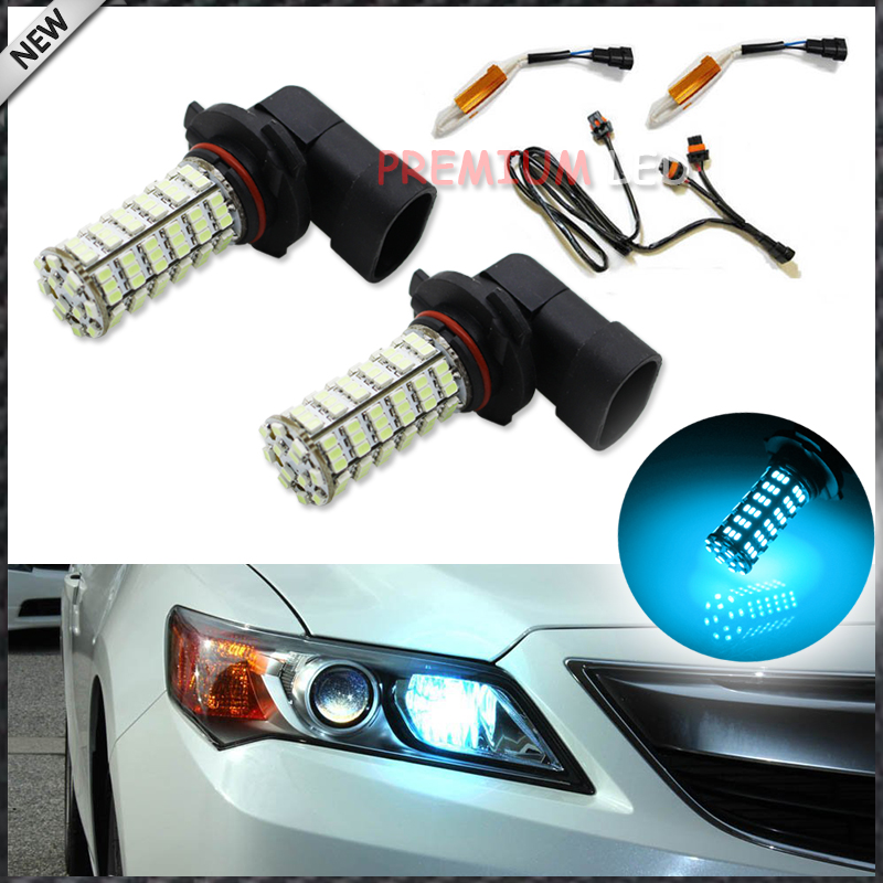 2) Super Bright 120 SMD Ice Blue 9005 HB3 LED Bulbs For